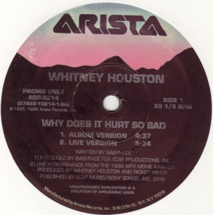 "Whitney Houston - Why Does It Hurt So Bad / I Wanna Dance With Somebody (Who Loves Me) (Remix 1996) (12"", Promo)"